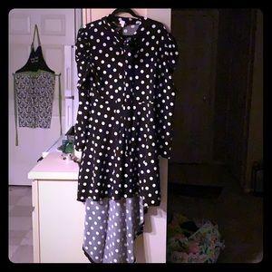 Dresses & Skirts - Black and white polka dot long sleeved high-low